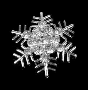 1 pc Rhinestone Crystal Diamante Silver Snowflake Brooch Pin Jewelry Wedding Cake Decoration BR102