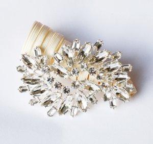 1 pc Rhinestone Crystal Diamante Silver Flower Brooch Pin Jewelry Wedding Cake Decoration BR103