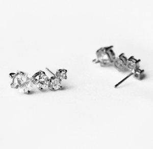 10 pcs Multi Cubic Zirconia Earring Earstuds Clear Crystal Rhinestone Silver Plated EF026