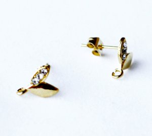 10 pcs Mini Sprout Earring Earstuds Clear Crystal Rhinestone Gold Plated EF019