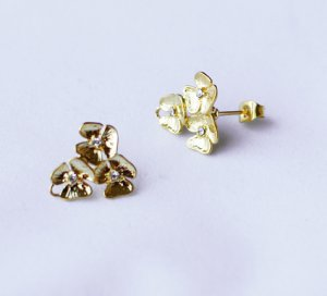 10 pcs Triple Flower Earring Earstuds Clear Crystal Rhinestone Gold Plated EF016