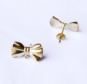10 pcs Ribbon Bow Earring Earstuds Gold Plated EF018