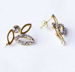 6 pcs Clear Crystal Earring EarstudsRhinestone Gold Plated EF020