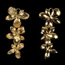 10 pcs Triple Orchid Flower Pendant Charm Connector Gold Plated AC045