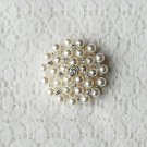 "10 Rhinestone Crystal Pearl Button Round 1.2"" Hair Clip Wedding Invitation Bridal Bouquet BT132"
