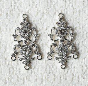 6 pcs Crystal Rhinestone Chandelier Earring Finding Bridal Earwire Silver Plated EF037