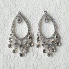 6 pcs Crystal Rhinestone Chandelier Earring Finding Bridal Earwire Silver Plated EF038