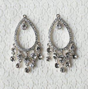 6 pcs Crystal Rhinestone Chandelier Earring Finding Bridal Earwire Silver Plated EF038