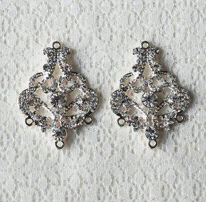 6 pcs Crystal Rhinestone Chandelier Earring Finding Bridal Earwire Silver Plated EF035