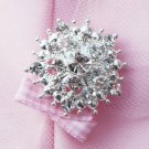 "50 Round Diamante 1.25"" (32mm) Rhinestone Crystal Button Hair Clip Wedding Invitation BT060"