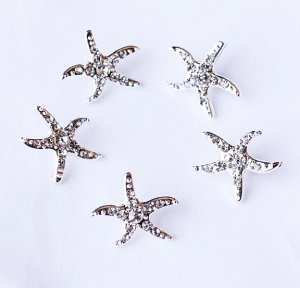 100 Rhinestone Button Crystal Slider Silver STARFISH Wedding Invitation Cake Decoration BT131