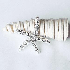 50 Rhinestone Buckle Crystal Slider Silver STARFISH Wedding Invitation Bouquet Jewelry BK098