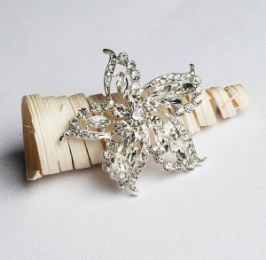 "1 pc Rhinestone Brooch Crystal Clip Pin 2"" Starfish Wedding Cake Decoration Invitation BR106"