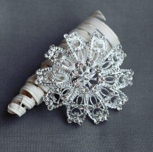 """1 pc Rhinestone Brooch 2.25"""" Crystal Wedding Invitation Cake Bouquet Decoration BR111"""