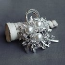 "1 pc Rhinestone Brooch 2.75"" Crystal Pearl Wedding Invitation Cake Bouquet Decoration BR110"