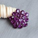 "1 pc Round Diamante 1.1"" Dark Amethyst Purple Rhinestone Crystal Button Wedding Invitation BT115"