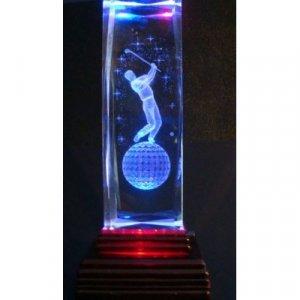"Golfer Laser Etched 3D Crystals. Size: 4 5/8""x2""x3"""