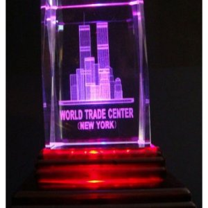 """World Trade Center Twin Towers Laser Etched 3D Crystals. Size: 2""""x2""""x3"""""""