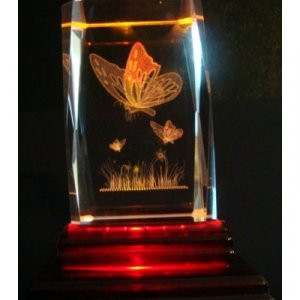 """Butterfly Laser Etched 3D Crystals. Size: 2""""x2""""x3"""""""