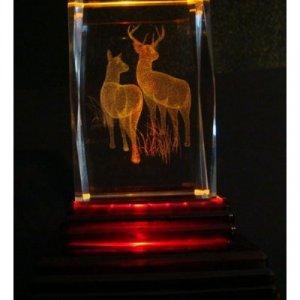 "Reindeer Laser Etched 3D Crystals. Size: 2""x2""x3"""