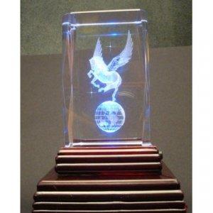 "Pegasus Laser Etched 3D Crystals. Size: 2""x2""x3"""