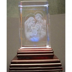 "Holy Family Laser Etched 3D Crystals. Size: 2""x2""x3"""