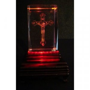 "Christ on the Cross Laser Etched 3D Crystals. Size: 2""x2""x3"""