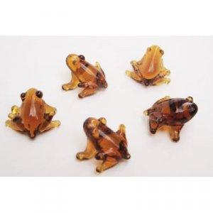 Set of Five Blown Glass Frog Figurine Set 0.5