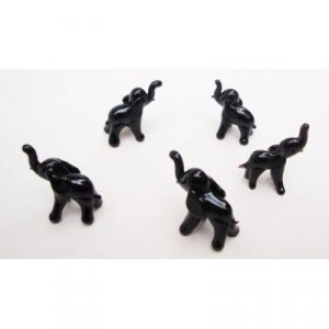 "Set of Five Blown Black Glass Elephant Figurine Set 0.5""h"