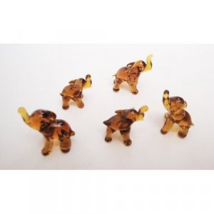 "Set of Five Blown Brown Glass Elephant Figurine Set 0.5""h"