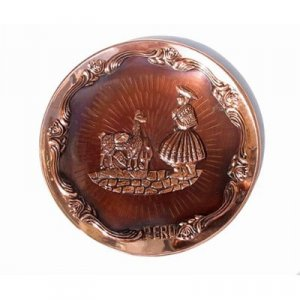 """PERU LIGHT WEIGHT COPPER BATHED PLATE, 9"""" DIAMETER WITH LLAMA AND SHEPHERD WOMAN MOTIF"""
