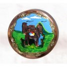 "PERU LIGHT WEIGHT COPPER DECORATIVE BATHED PLATE, 10.5"" DIAMETER WITH MACHU PICCHU AND LLAMA MOTIF"