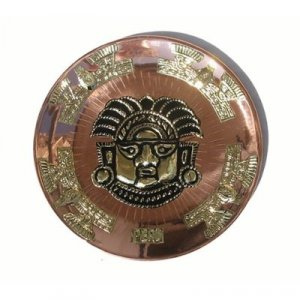 "PERU 'Crowned Ai Apaec' LIGHT WEIGHT COPPER BATHED DECORATIVE PLATE 10.5"" DIAMETER TUMI"
