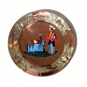 "PERU LIGHT WEIGHT COPPER BATHED PLATE 10.5"" DIAMETER LLAMA AND SHEPHERD PEOPLE MOTIF"