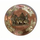 "PERU COPPER BATHED PLATE 10.5"" DIAMETER. MACHU PICCHU MOTIF, WITH LLAMA AND SHEPHERD PEOPLE"