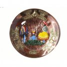 "PERU LIGHT WEIGHT COPPER DECORATIVE PLATE PLAQUE, 9"" DIAMETER WITH SHEPHERD PEOPLE AND LLAMA MOTIF"