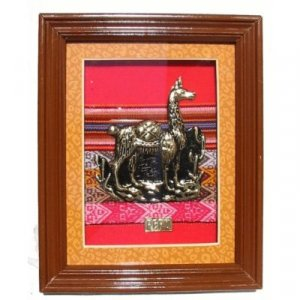 "PERU DECORATIVE FRAMED ART 10.25""H X 8.25""W WITH LLAMA MOTIF"