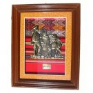 "PERU DECORATIVE FRAMED ART 10.25""H X 8.25""W WITH MACHU PICCHU. SHEPHERD PEOPLE AND LLAMA MOTIF"