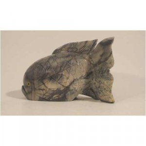 "Soapstone Fish Figurine 4.0""h x 6.0""w Fish Stone Carving"