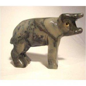 "Soapstone Pig Figurine 3.5""w 2.5""h Pig Carving"