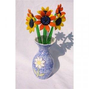 10 Piece Glass Sunflowers Set