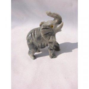 "Soapstone Elephant Figurine 3.25""h Elephant Carving"