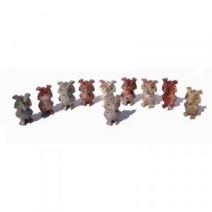 10 Piece Hand Carved Soapstone Miniature Owl Figurines
