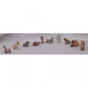 10 Piece Hand Carved Soapstone Miniature Animal Figurines