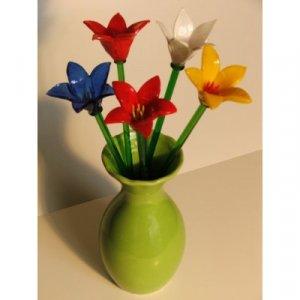 Mixed Colors Glass Flowers 10 Piece Set