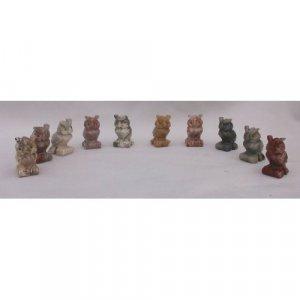 10 Piece Hand Carved Soapstone Owl Figurine