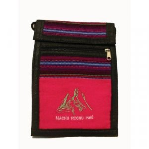 "Hot Pink Machu Picchu Design Shoulder Bag 8.5""H x 5.75""W with 40 inch shoulder strap"