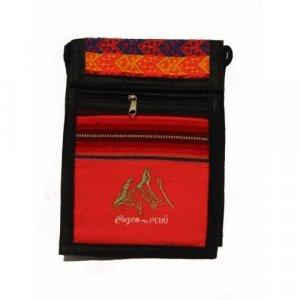 "Bright Orange Machu Picchu Design Shoulder Bag 8.5""H x 5.75""W with 40 inch shoulder strap"