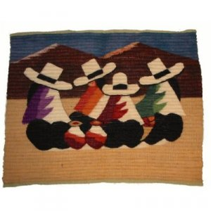 """""""The Gossips"""" Las Chismosas Hand made Wool tapestry 36""""W x 31""""H"""