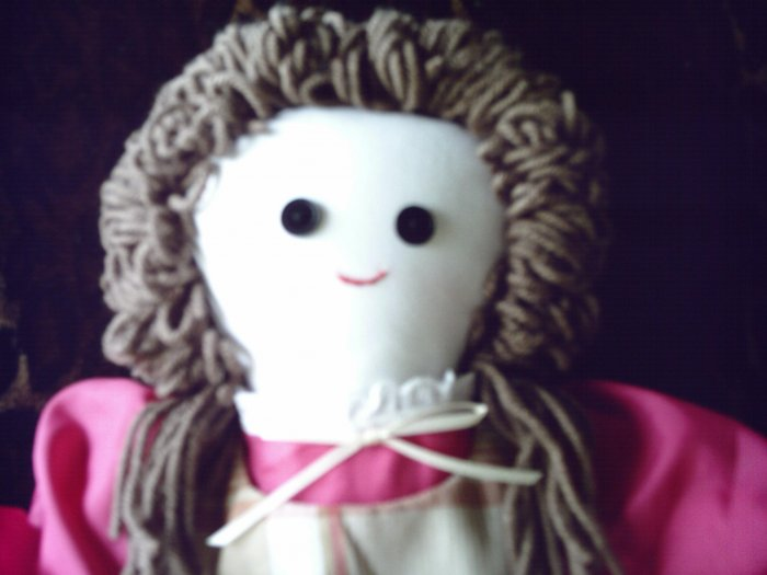 SOLD Handmade One of A Kind Cloth Girl Doll Brunette 21 inches OOAK Hand made Dolls